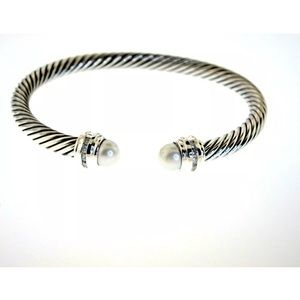DAVID YURMAN 5MM PEARL DIAMOND STERLING BRACELET